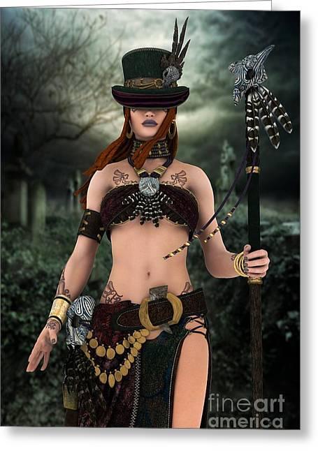 Steampunk Voodoo Greeting Card by Sandra Bauser Digital Art