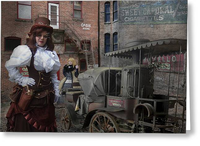 Steampunk Welcome To The Oasis In Wallace Idaho Greeting Card by Jeff Burgess