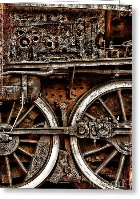 Steampunk- Wheels Locomotive Greeting Card