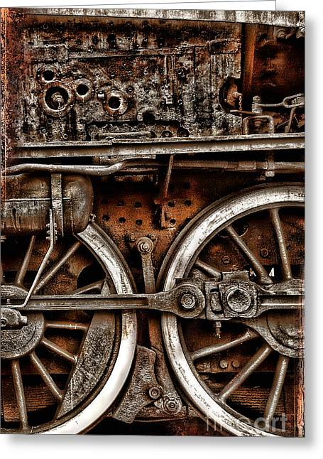 Steampunk- Wheels Locomotive Greeting Card