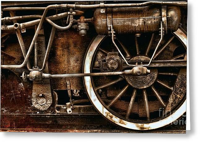 Steampunk- Wheels Of Vintage Steam Train Greeting Card