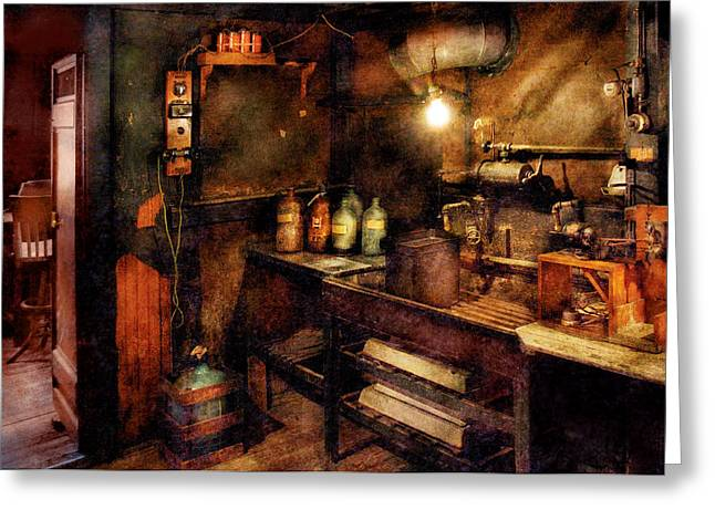 Steampunk - Where Experiments Are Done Greeting Card by Mike Savad