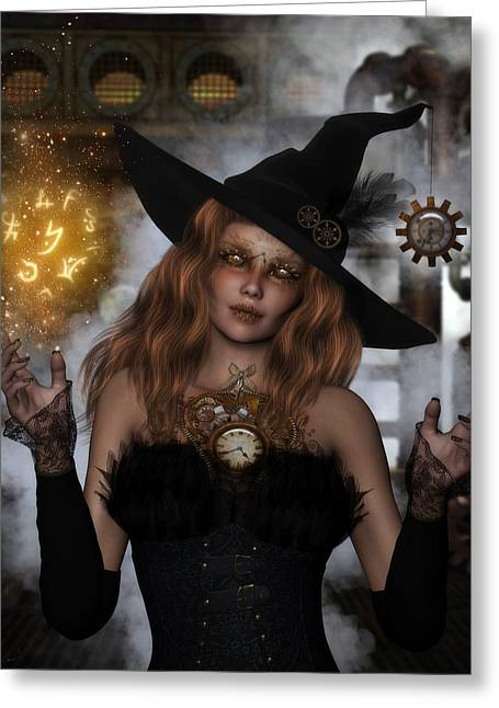 Steampunk Witch Greeting Card