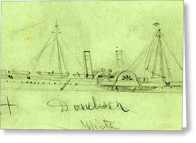 Steamship Ft. Donelson, Ca. 1864, Drawing On Blue-gray Greeting Card