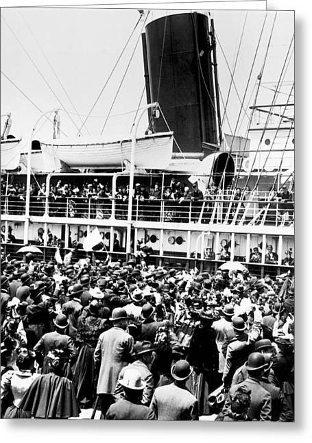 Steamship Goodbyes Greeting Card by Underwood Archives