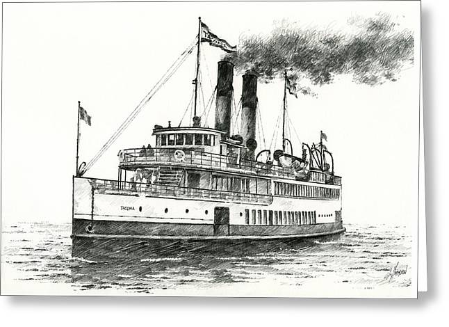 Steamship Tacoma Greeting Card by James Williamson