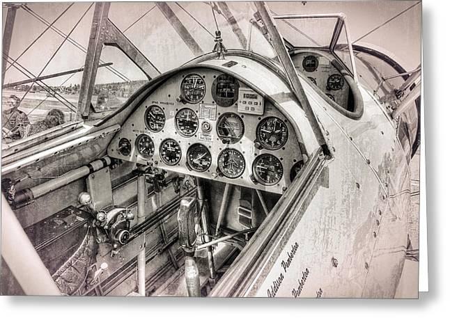 Stearman N4760v Cockpit Greeting Card by Daniel Hagerman