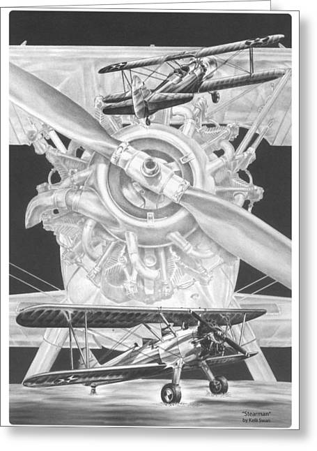 Stearman - Vintage Biplane Aviation Art Greeting Card by Kelli Swan