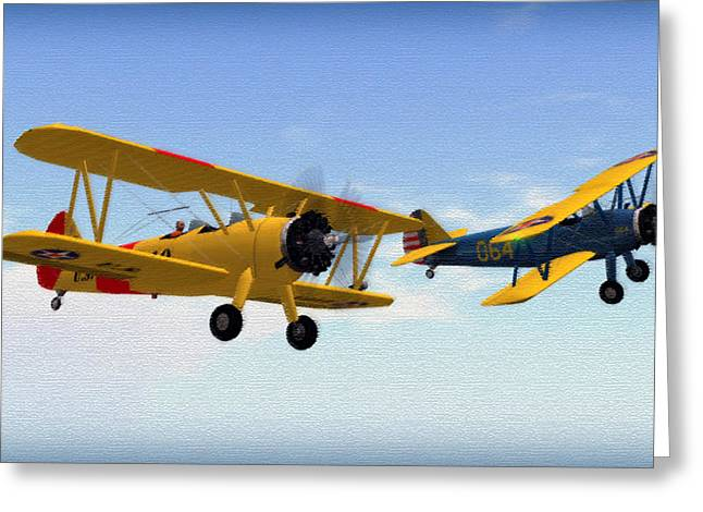 Stearmans At Play Greeting Card by Mark Weller