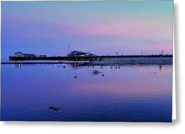 Stearn's Wharf Over Pond Greeting Card