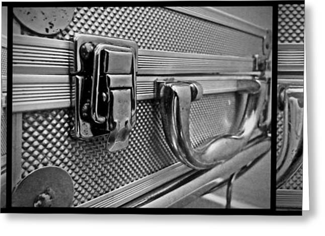 Greeting Card featuring the photograph Steel Box - Triptych by James Aiken