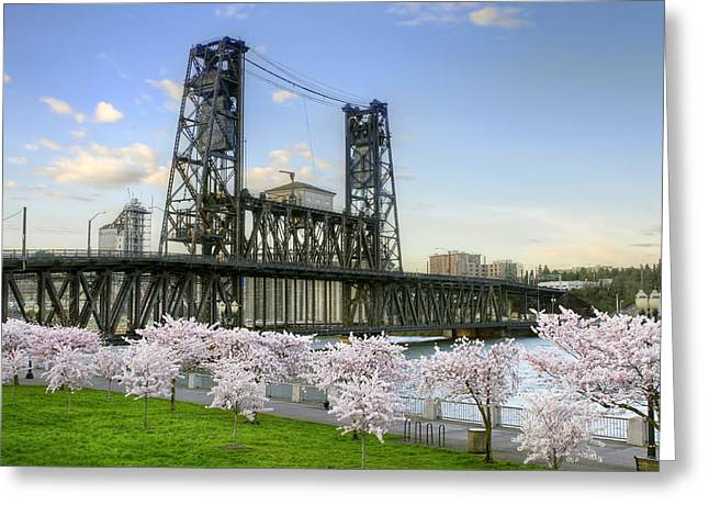 Steel Bridge And Cherry Blossom Trees In Portland Oregon Greeting Card