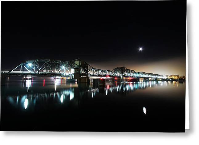 Steel Bridge Moon Greeting Card