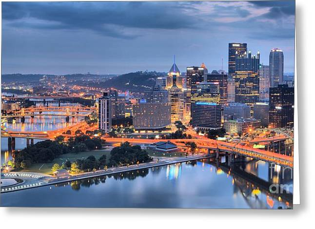 Steel City Panorama Greeting Card by Adam Jewell