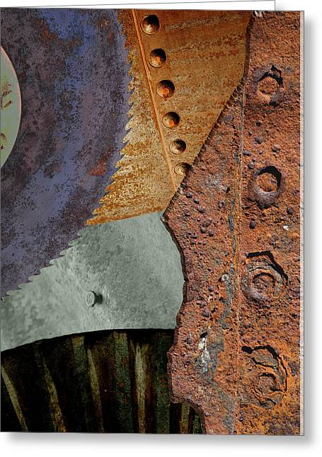 Steel Collage Greeting Card by Fran Riley