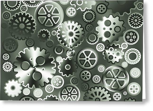 Steel Gears Greeting Card by Gaspar Avila