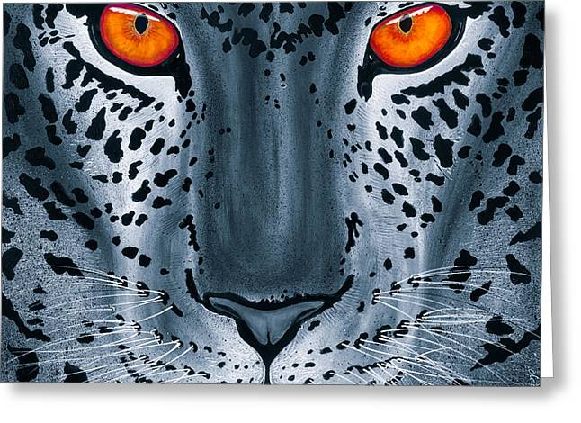 Greeting Card featuring the painting Steel Leopard by Dede Koll
