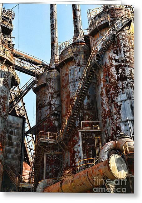 Steel Mill Blast Furnace Greeting Card by Paul Ward