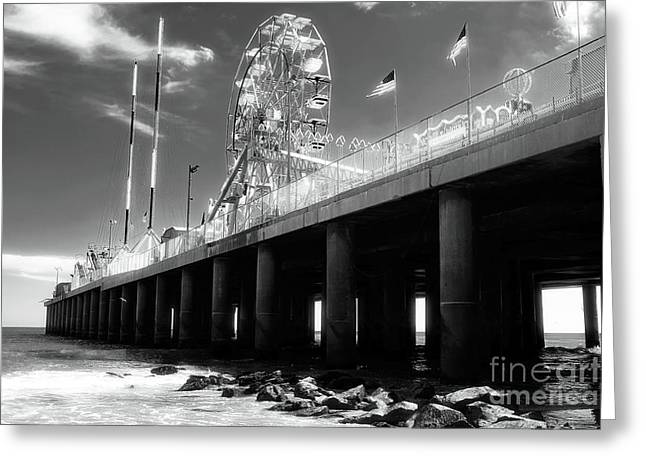 Steel Pier At Atlantic City Greeting Card by John Rizzuto