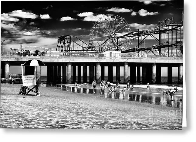 Steel Pier Memories Greeting Card by John Rizzuto