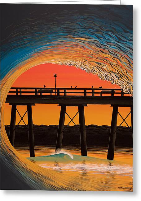 Steel Pier Sunrise Greeting Card by Matthew Haddaway