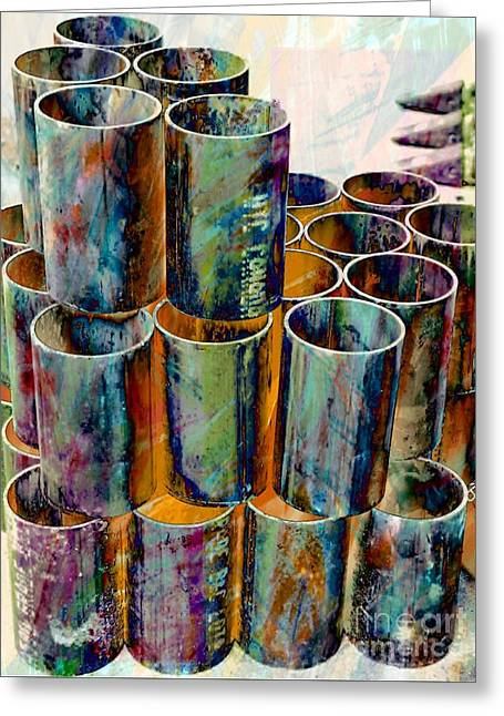 Steel Pipes Greeting Card by Lilliana Mendez