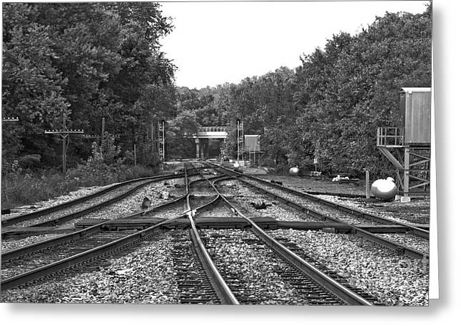 Steel Rail Intersections.   Point Of Rocks Md Greeting Card