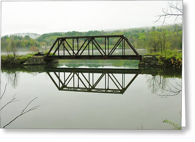 Greeting Card featuring the photograph Vermont Steel Railroad Trestle On A Calm  Misty Morning by Sherman Perry