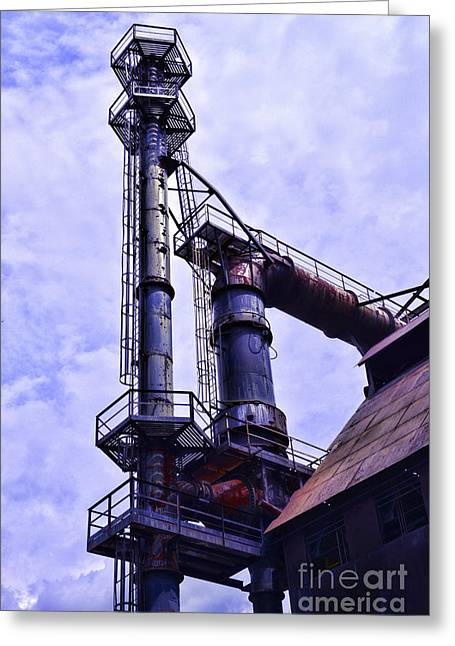 Steel Stacks Reaching Towards The Sky Greeting Card by Paul Ward