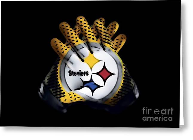 Steelers Gloves Greeting Card