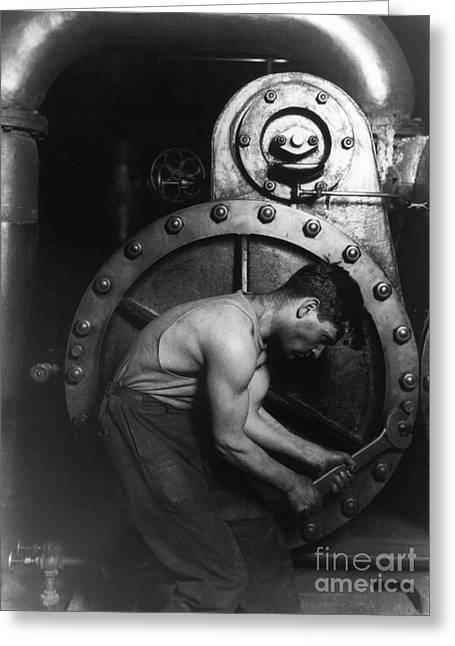 Steelworker Greeting Card by Photo Researchers Inc