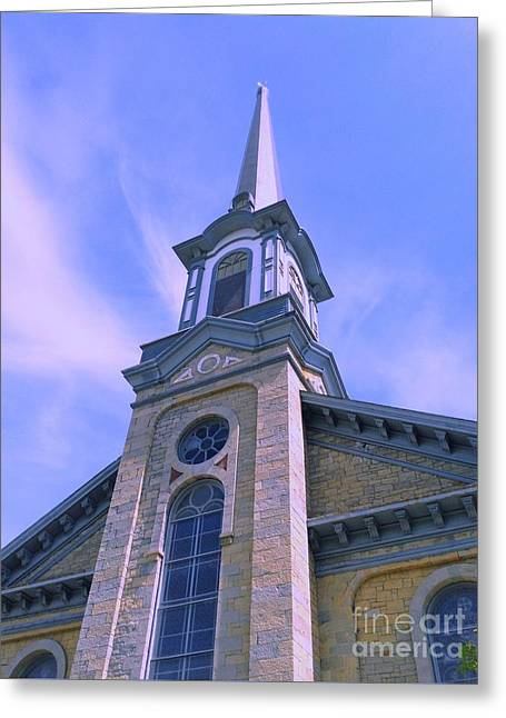 Greeting Card featuring the photograph Steeple Church Arch Windows  1 by Becky Lupe
