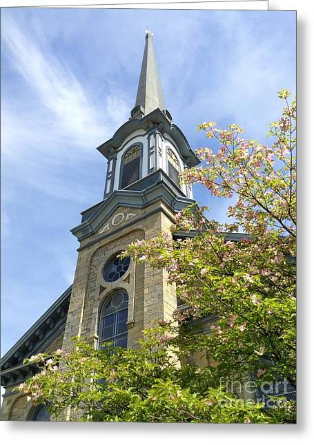 Greeting Card featuring the photograph Steeple Church Arch Windows by Becky Lupe