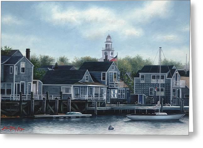 Steeple View Nantucket Greeting Card by Julia O'Malley-Keyes