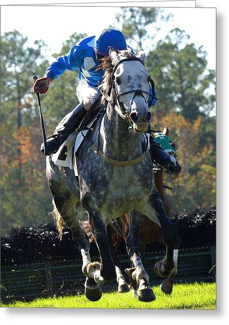 Greeting Card featuring the photograph Steeplechase by Robert L Jackson