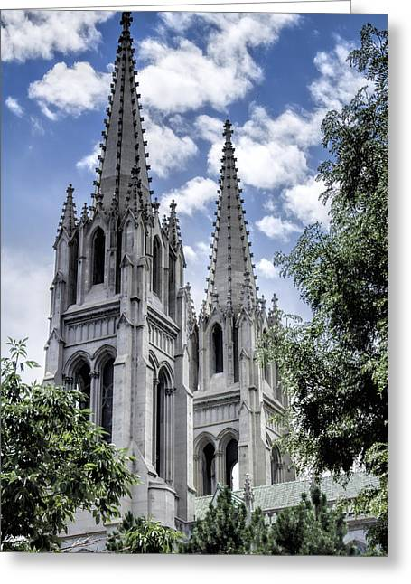 Steeples Greeting Card by Lena Sandoval-Stockley