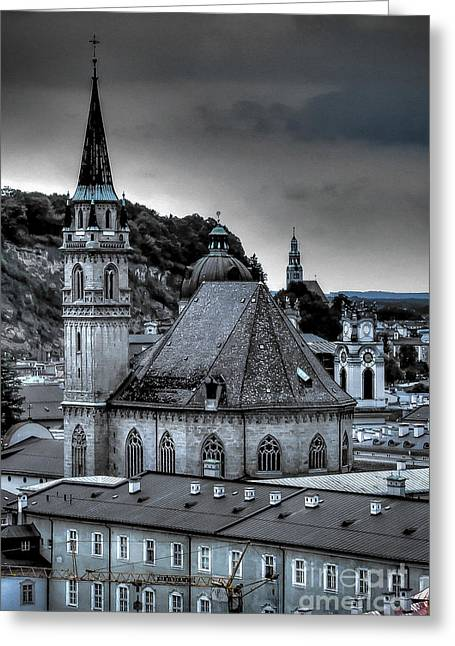 Greeting Card featuring the photograph Steeples Over Innsbruck by Ken Johnson
