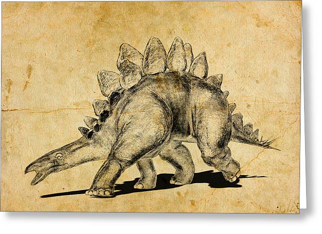 Stegosaurus Dinosaur Greeting Card by Friedrich Saurer