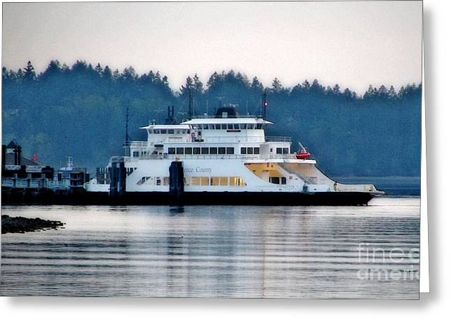 Steilacoom Ferry At Dusk Greeting Card
