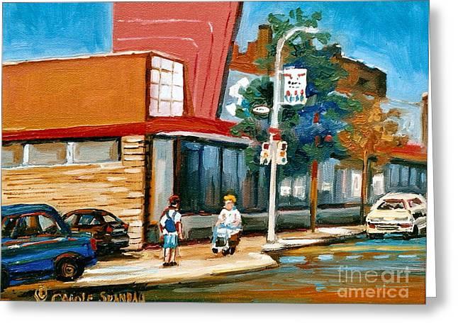 Steinberg's  On Van Horne Street Outremont Montreal Landmarks Greeting Card by Carole Spandau