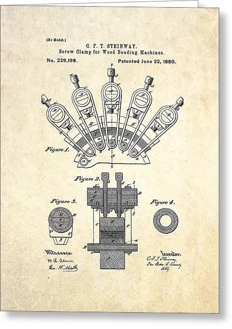1880 Steinway Screw Clamp Patent Art Greeting Card