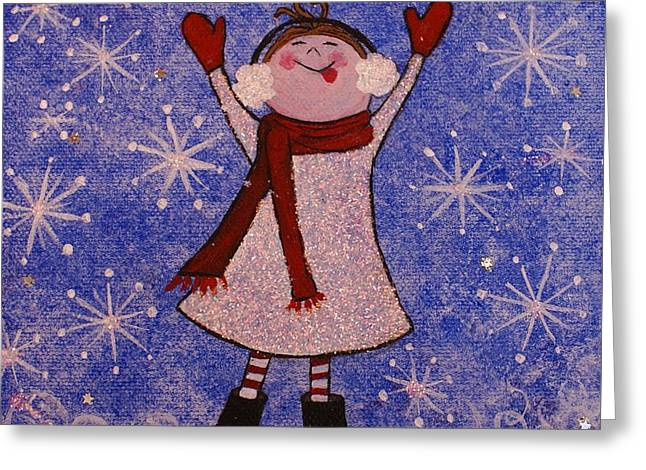 Stella And Snowflake Kisses Greeting Card by Jane Chesnut