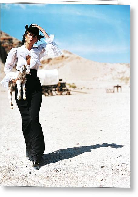 Stella Tennant Carrying A Lamb Greeting Card by Arthur Elgort