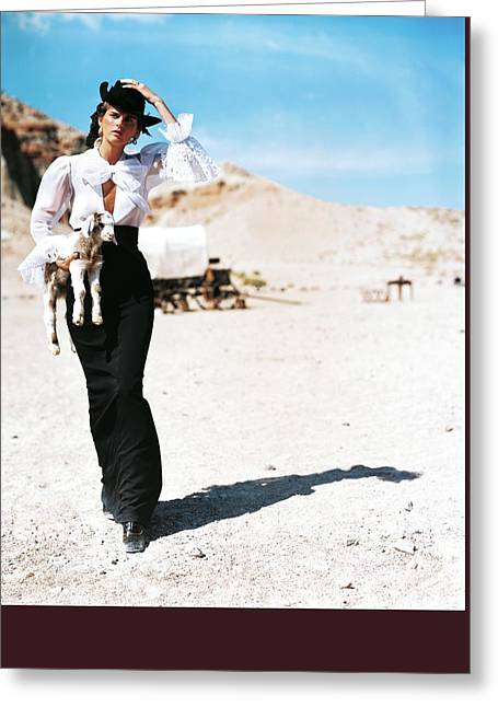Stella Tennant Carrying A Lamb Greeting Card by Arthur Elgort