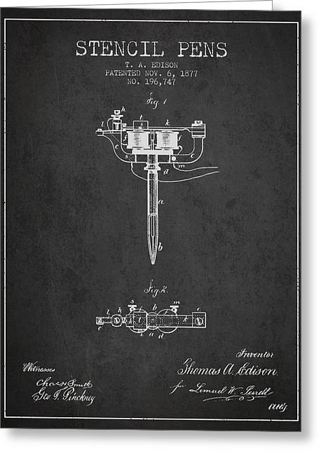 Stencil Pen Patent From 1877 - Charcoal Greeting Card by Aged Pixel