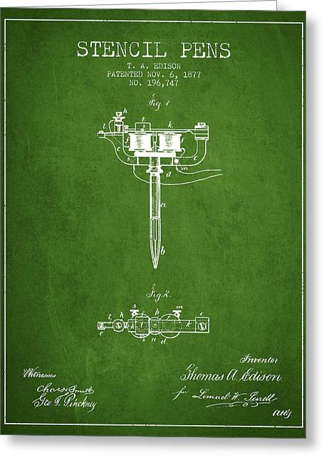 Stencil Pen Patent From 1877 - Green Greeting Card