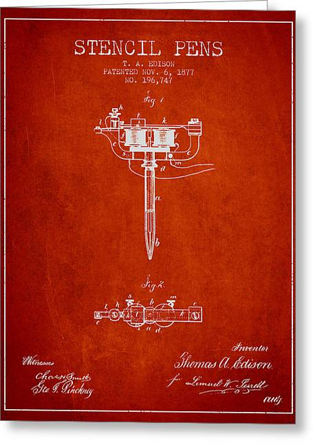 Stencil Pen Patent From 1877 - Red Greeting Card