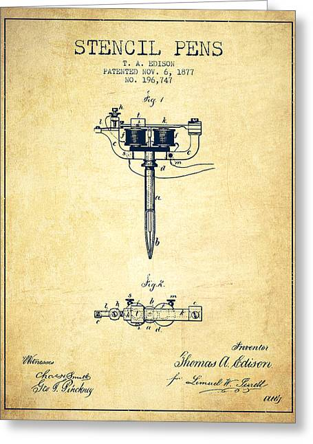 Stencil Pen Patent From 1877 - Vintage Greeting Card