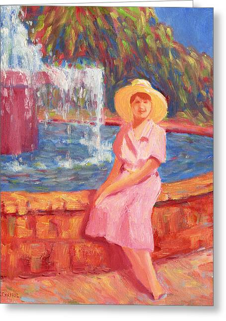 Stephanies Fountain Hat Greeting Card by Vernon Reinike