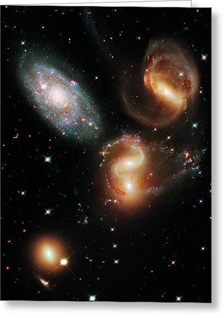 Stephan's Quintet Galaxies Greeting Card by Nasa/esa/stsci/hubble Sm4 Ero Team